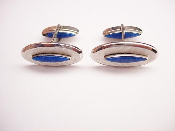 Vintage Oval Blue Lapis Cufflinks Brushed Pat Pend Wedding Formal