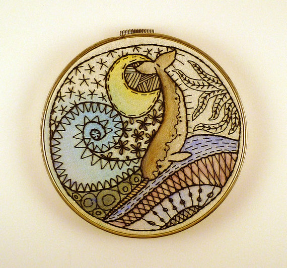 On hold for Pieces of Joy --- Frisky Narwhal Zentangle Embroidery Hoop Art