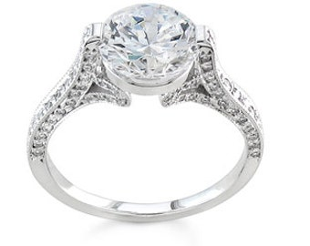 Ladies 14kt white gold pave diamond engagement ring 0.40 ctw G-VS2 quality with 1.50ct Round White Sapphire