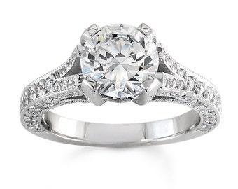 Ladies 14kt pave vintage diamond engagement ring 0.66 ctw G-VS2 diamond qualty with 1ct Round White Sapphire