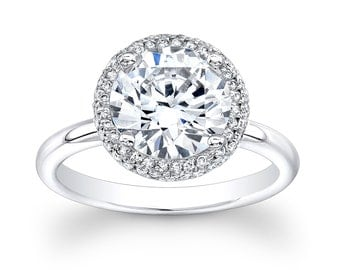 Women's platinum diamond halo engagement ring with 2.00ct round white sapphire 0.30 ctw G color VS2 clarity diamonds