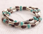 Turquoise Stretch Bead Stack Bracelet Trio with Dark Brown and Tibetan Silver and Silver Plated Beads