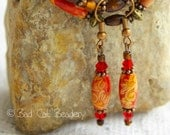 Vintage Art Deco Earrings Floral Decorative Wood Bead, Copper, Red Crystal and Dark Brown Foil Beads