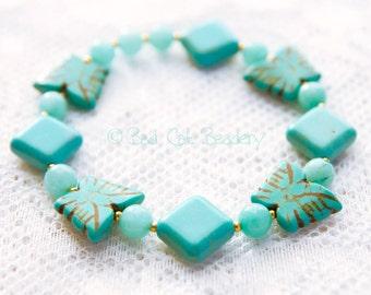 Blue Bead Turquoise Stretch Bracelet -  Diamond, Butterfly,  Blue Green Jade, Gold