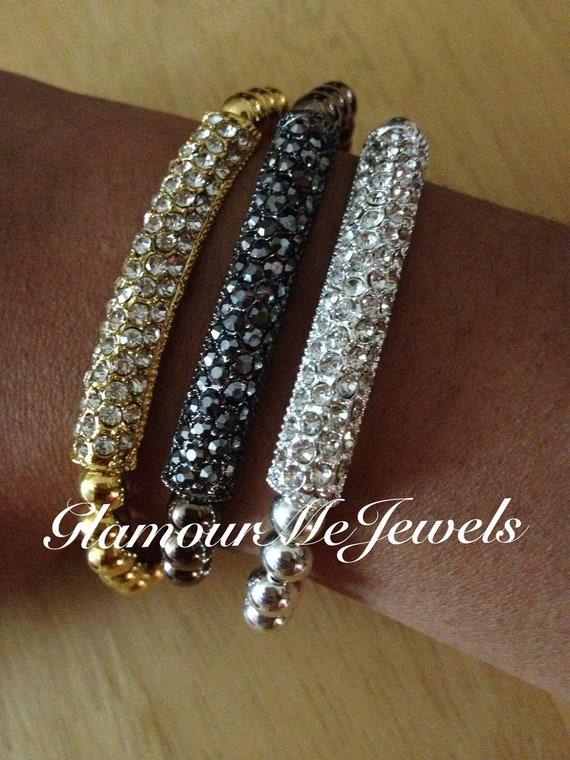 The HARLOW  bracelet : Gold, Gun Metal Black or Silver Pave Bar Bracelets