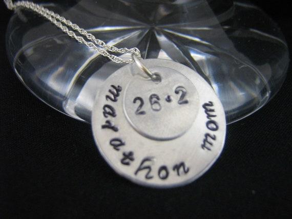 Hand Stamped Marathon Jewelry Running Jewelry Half Marathon Necklace Hand Stamped