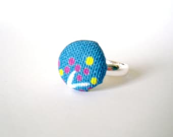 Turquoise Fabric Button Ring, Purple and Yellow Tree Blossom Silver Ring