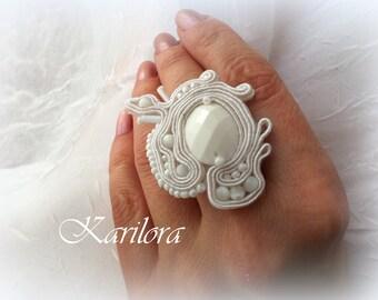 White Soutache Adjustable Ring