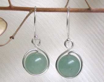 Jade Green Aventurine / Sterling Silver, Natural Stone, French Wire or Leverback, Dangle Earrings