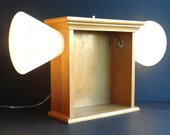 Large Vintage Oak Shadowbox Table Lamp
