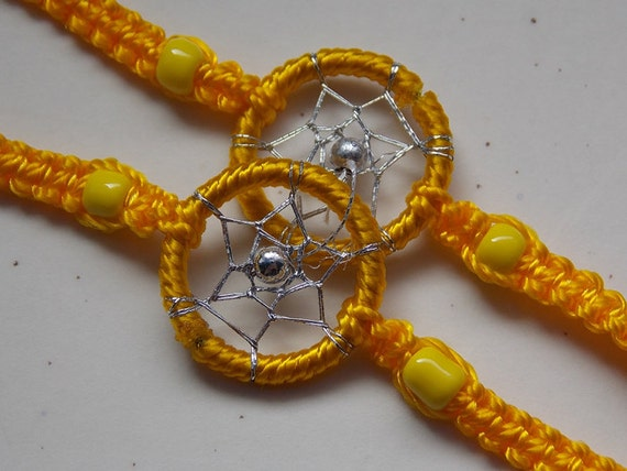 Handmade Woven Dream Catcher Friendship Bracelets (pair) : Yellow