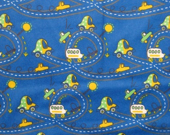 Roadway blue flannel fabric - winding roads with cars and van  - by the continuous YARD