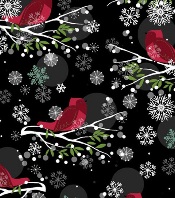Cardinals And Snowflakes Cotton Fabric Bright By Fabricfrantic