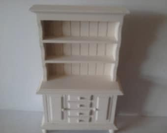 Dollhouse  dresser hutch hand painted  cream 1 /12th  miniature furniture for a dolls house