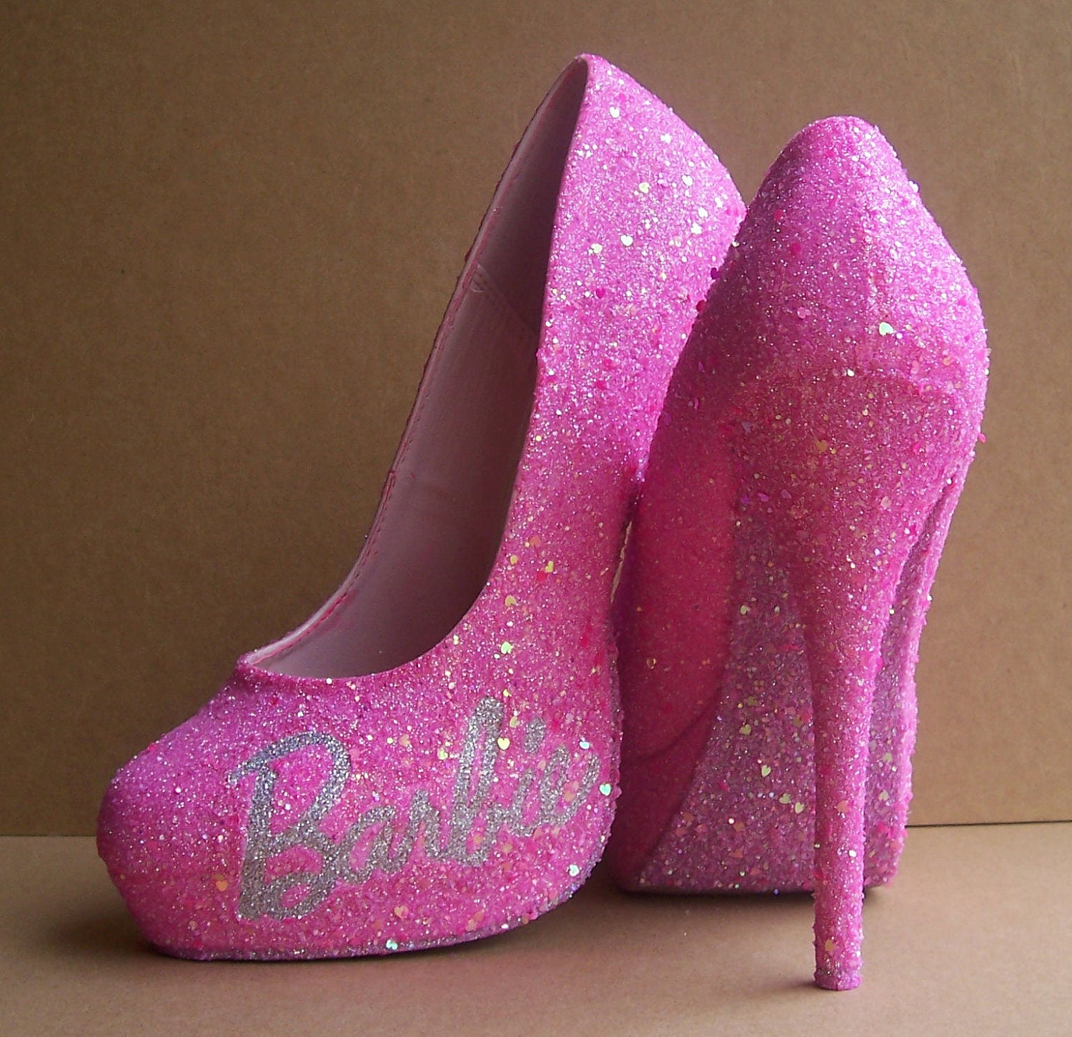 pink barbie glittered high heels by tattooedmary on etsy. Black Bedroom Furniture Sets. Home Design Ideas