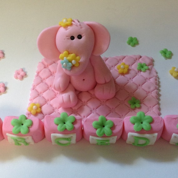 Edible Elephant Cake Decorations : ELEPHANT THEME BIRTHDAY Fondant Pink Elephant Baby Shower