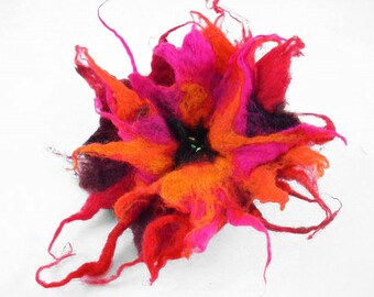 Felted Brooch felt poppy nuno nunofelt silk flower folk boho red pink tangerine ruby wool victorian fairy