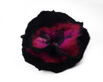 Felted Brooch Black brooch felt flower nunofelt Nuno felt Silk Silkyfelted Eco handmade black pink fuschia fairy multicolor floral Fiber Art