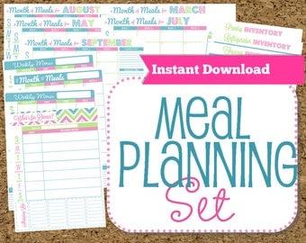 INSTANT DOWNLOAD-Menu Planner Printables- Meal Planning Organization- Home Management  Binder-32 Documents