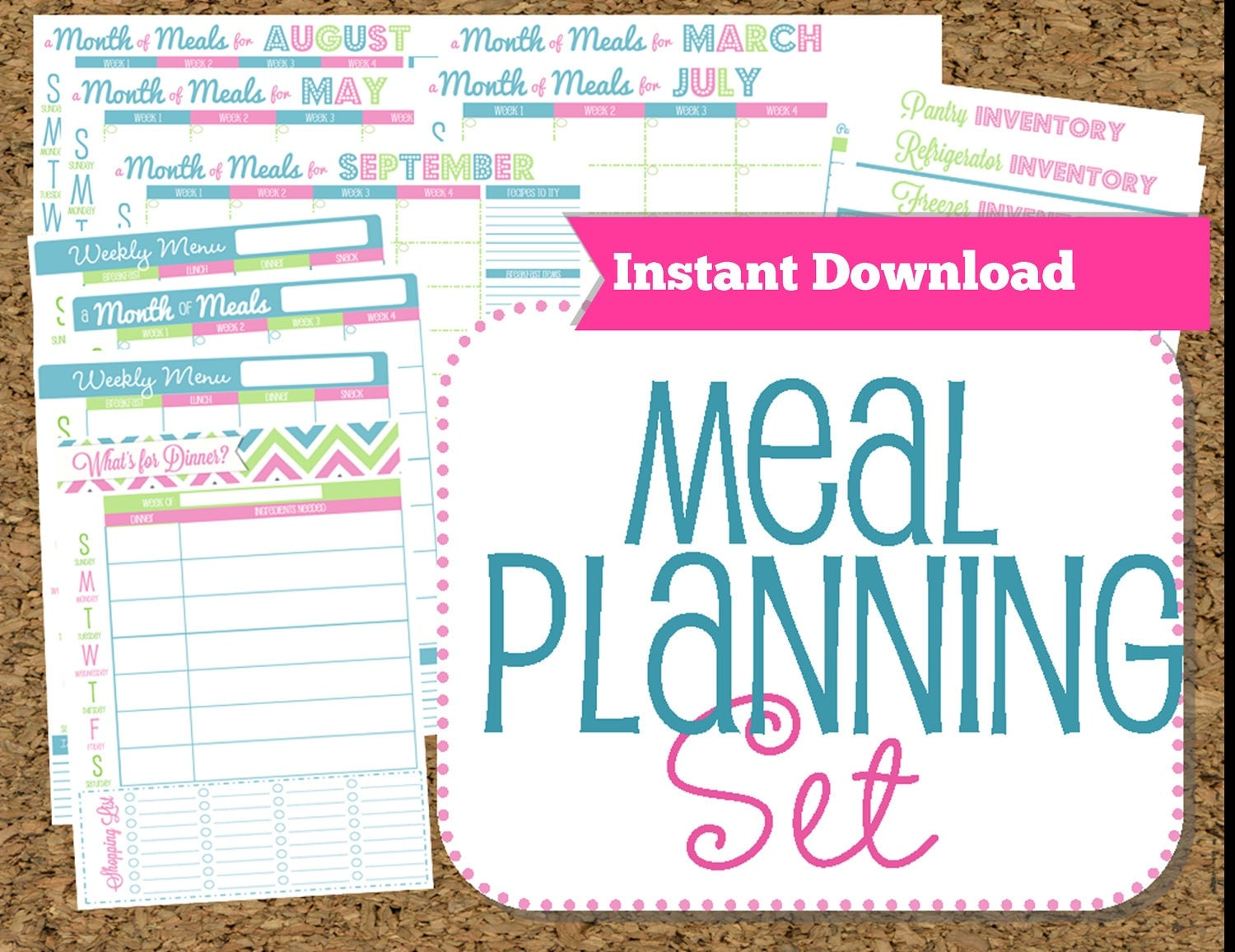 INSTANT DOWNLOAD-Menu Planner Printables Meal Planning