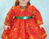18 Inch Doll Clothes - Gingerbread Men on Red Christmas Dress for 18 inch dolls