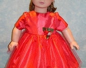 18 Inch Doll Clothes - Red Taffeta Sparkly Tulle Christmas Dress for 18 inch dolls
