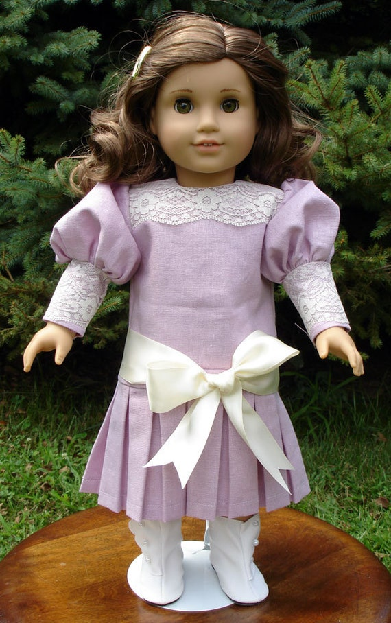 Titanic Era Lavender Linen Ivory Lace Dress fits American Girl Rebecca and other 18 inch dolls