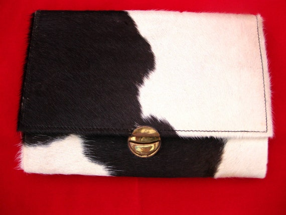 Vintage Cow Print Clutch Nonato Industria Argentina Cowhide Purse 1950s