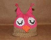 Hot pink and light brown sleeping owl hat.  Newborn-small infant size