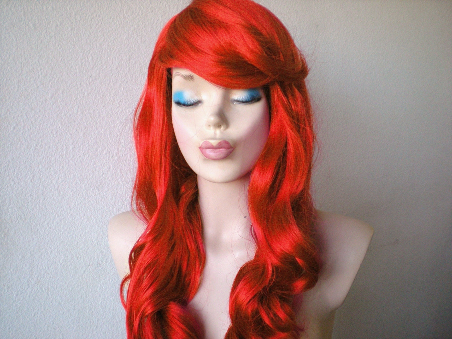 Mermaid Hair Style Wig Ariel Hair Inspired Wig Red By