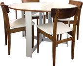 Retro White g plan style teak chairs