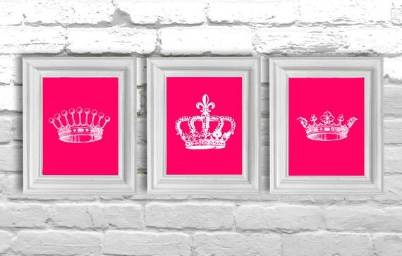 Digital Download Hot Pink Crowns, Modern Art Prints