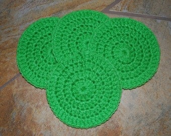 Crochet Coasters - Set of 4 - Spring Green