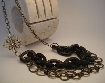 Double chain and wood links necklace-Jewelry by JewelsofCapri