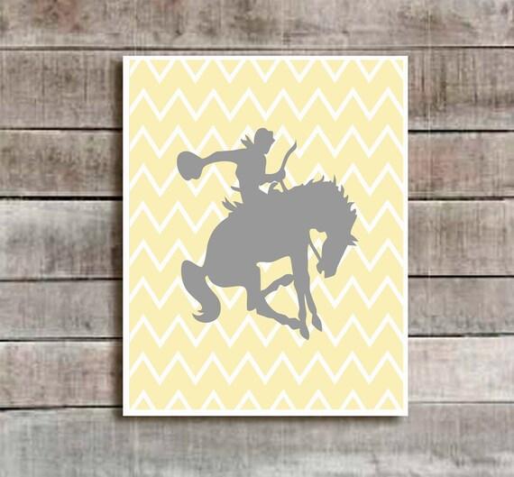 Cowboy Wall Decor Nursery : Yellow grey cowboy horse nursery decor baby by