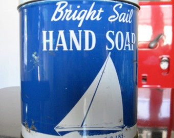 SALE 1950s Bright Sail Hand Soap Blue and White Tin