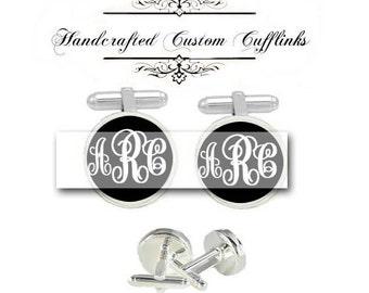custom wedding monogram 3 initials men Cufflinks groom groomsmen Anniversary birthday graduation husband father fiancée gift cuff link