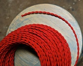 6 Feet: Red Twisted Rayon Cloth Covered Wire, Vintage Style Fabric Lamp Cord, For Hanging Pendants, Trouble Lights etc