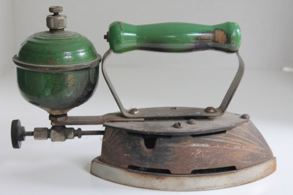 Old Steam Iron ~ Items similar to antique primitive cast steam iron green