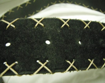 Suede like belt with cross-stitch edging