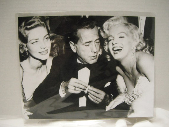 1950s Lauren Bacall, Humphrey Bogart and Marilyln Monroe vintage snapshot  8 x 10  reproduction