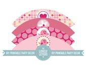 Cupcake Wrappers Pink Tweetie Birds - Girls - Hearts - Daisies - Printable Designs - DIY