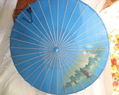 Vintage Blue Parasol, Asian Zen Umbrella, Vintage Wooden and Silk Blue Decorative Parasol