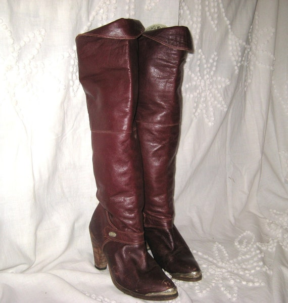 Dingo Vintage Knee High, Long Burgandy Leather Womans Sexy Boots High Fashion