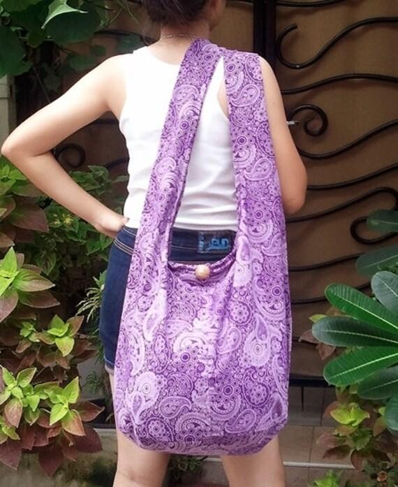 FREE SHIPPING - Handmade Shoulder bag Hobo bag Cross-body - cotton fabric - ready to ship -
