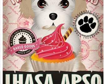 Lhasa Apso Cupcake Company Original Art Print - Custom Dog Breed Print -11x14- Customize with Your Dog's Name - Dogs Incorporated