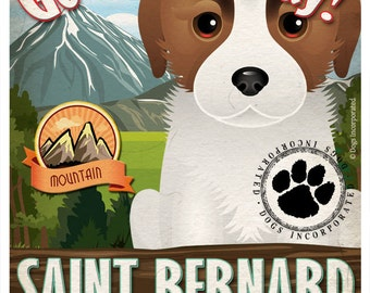 St Bernard Wilderness Dogs Original Art Print - Personalized Dog Breed Art -11x14- Customize with Your Dog's Name - Dogs Incorporated