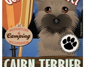 Cairn Terrier Wilderness Dogs Original Art Print - Personalized Dog Breed Art -11x14- Customize with Your Dog's Name - Dogs Incorporated