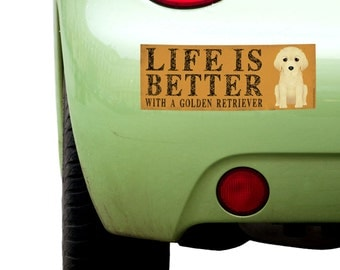 """Dogs Incorporated Sticker - Life is Better with a Golden Retriever  -  Dog Bumper Sticker 3""""x 8"""" Coated Vinyl"""