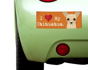 """Dogs Incorporated I Love My Chihuahua - I Heart My Dog Bumper Sticker 3""""x 8"""" Coated Vinyl"""